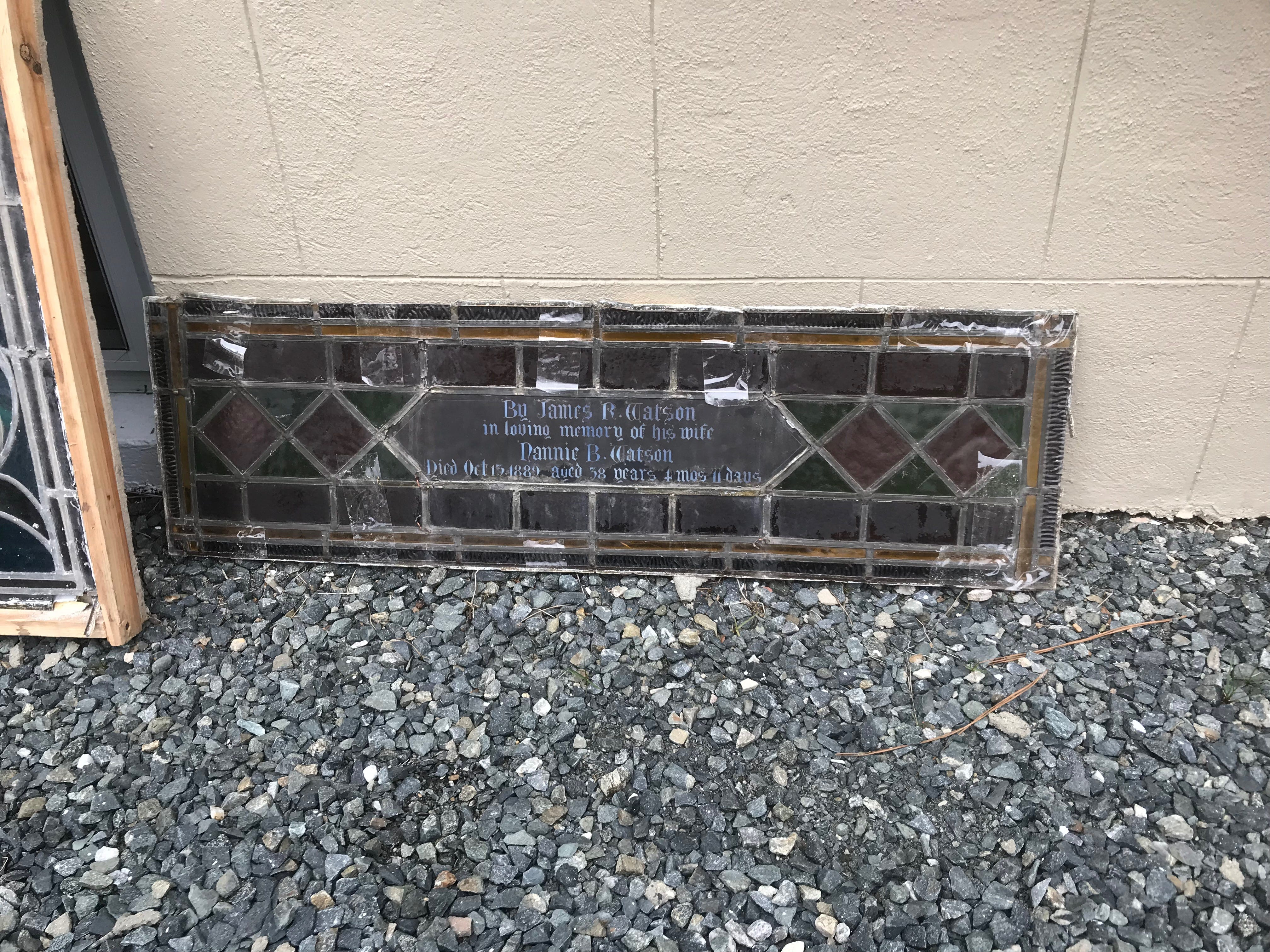 One of the sections of a stained glass window awaiting restoration sits outside Historic Cokesbury Church after Michael Mezalick removed it from its spot in the church.