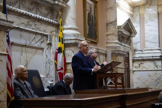 Gov. Larry Hogan delivers his State of the State Address in Annapolis on Jan. 30.