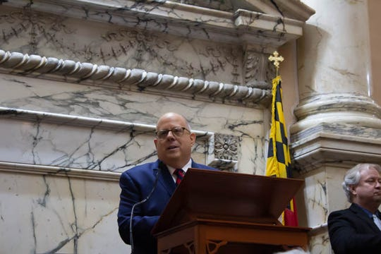 Governor Larry Hogan delivers his State of the State Address in Annapoli on Jan. 30.