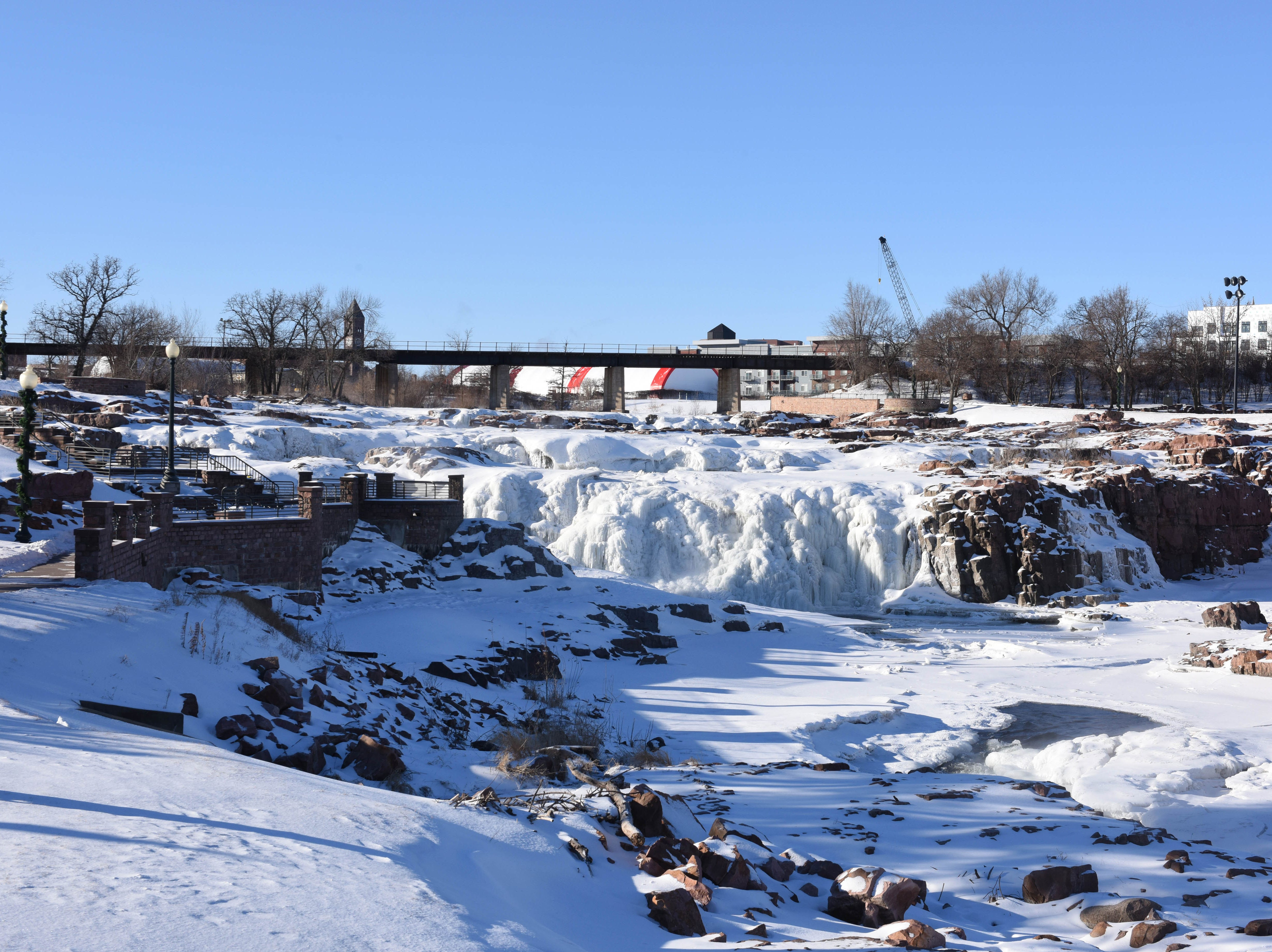 The Falls freeze in Sioux Falls, S.D., Wednesday, Jan. 30, 2019.