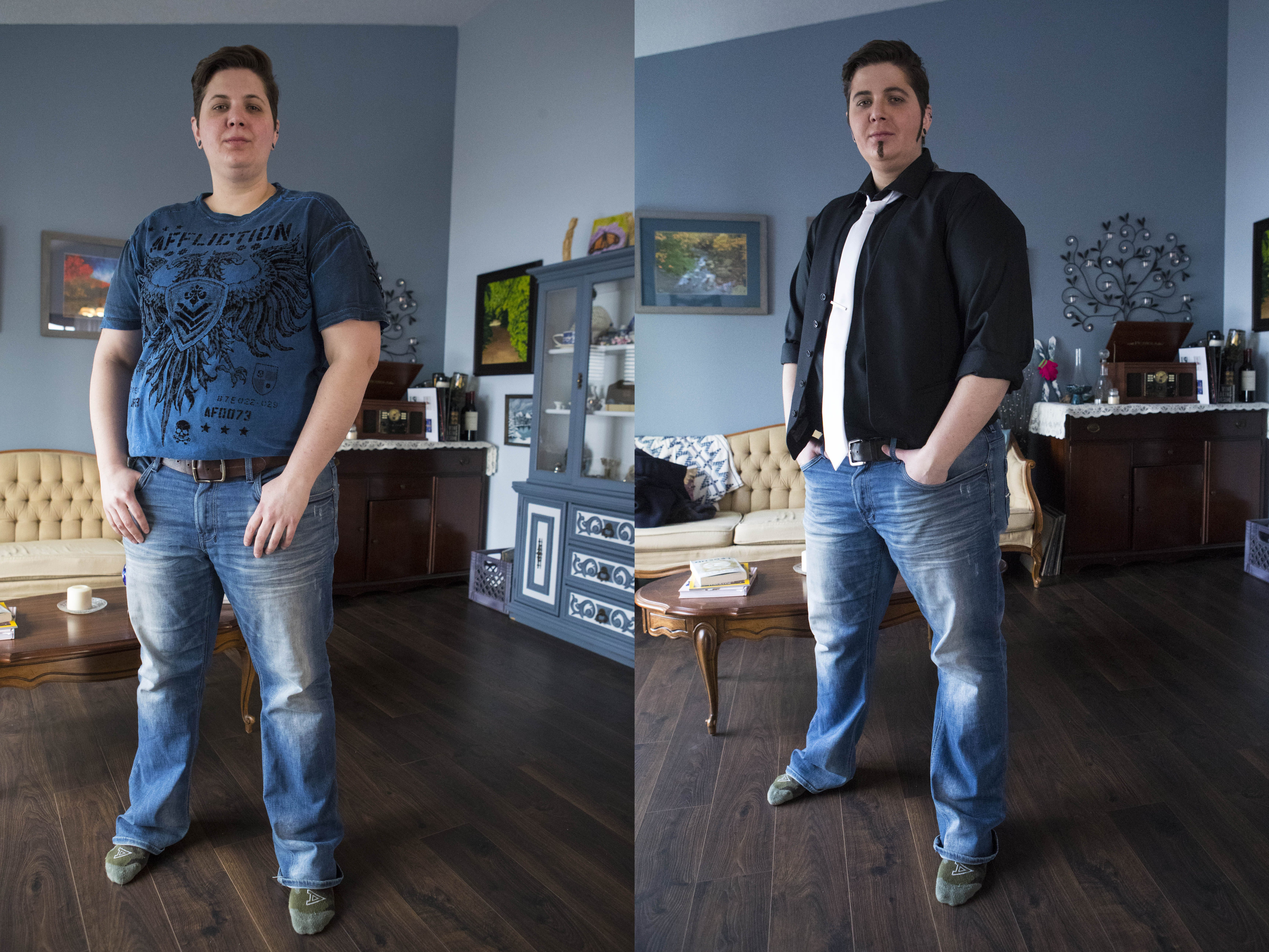 Katie Morgan (drag name: Alex Feeliner) poses in a before and after photo in Sioux Falls, S.D., Saturday, Jan. 26, 2019.