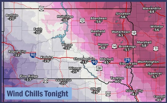 Wind chills bottoms out tonight to around minus-60 degrees in eastern South Dakota as Polar Vortex Jayden sweeps into the Midwest.