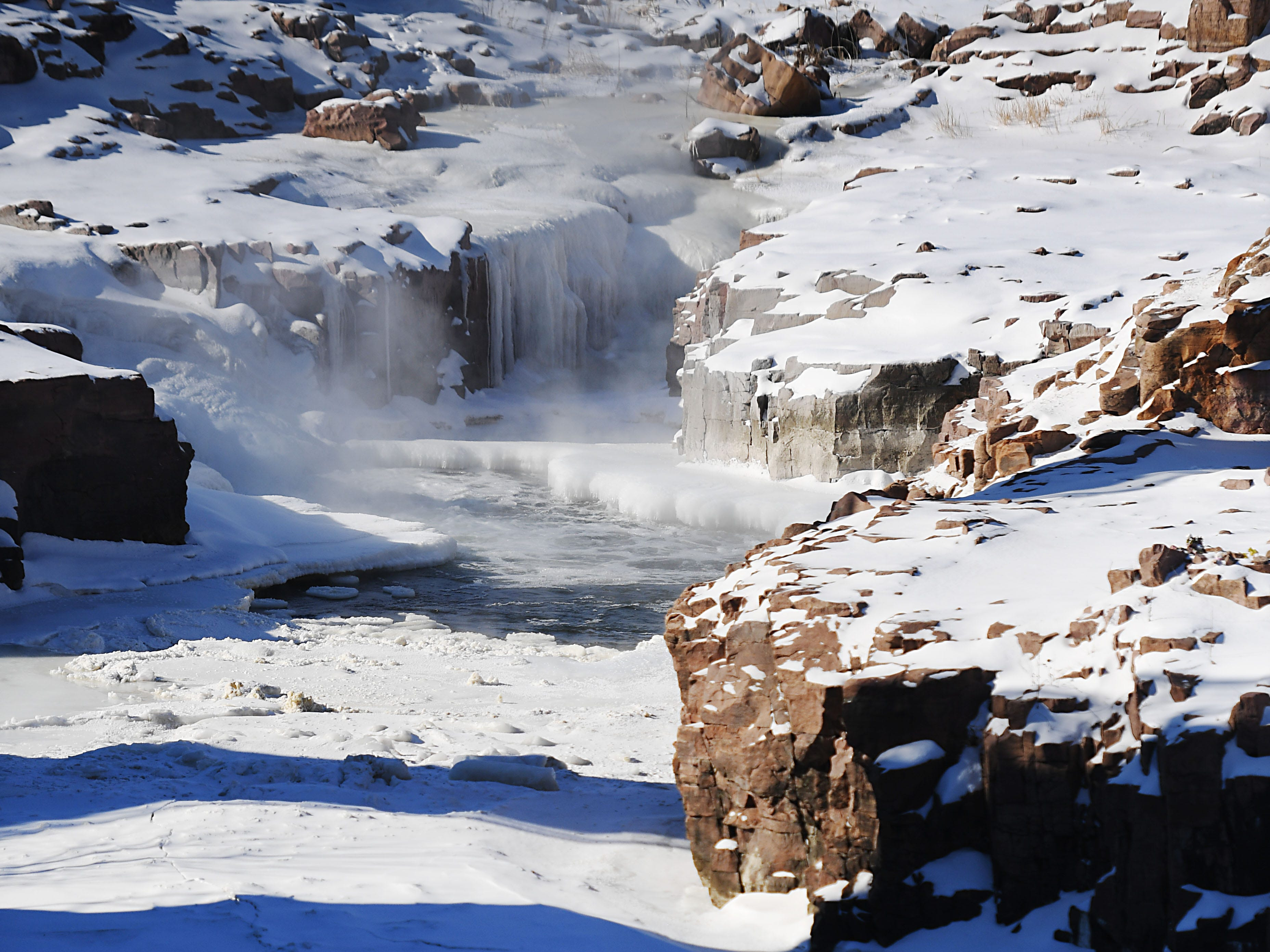 Falls park, Wednesday, Jan. 30, in Sioux Falls.