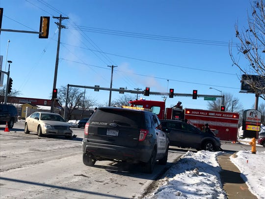 One person was transported to a Sioux Falls hospital with non-life threatening injuries after a car crash in central Sioux Falls Wednesday afternoon.