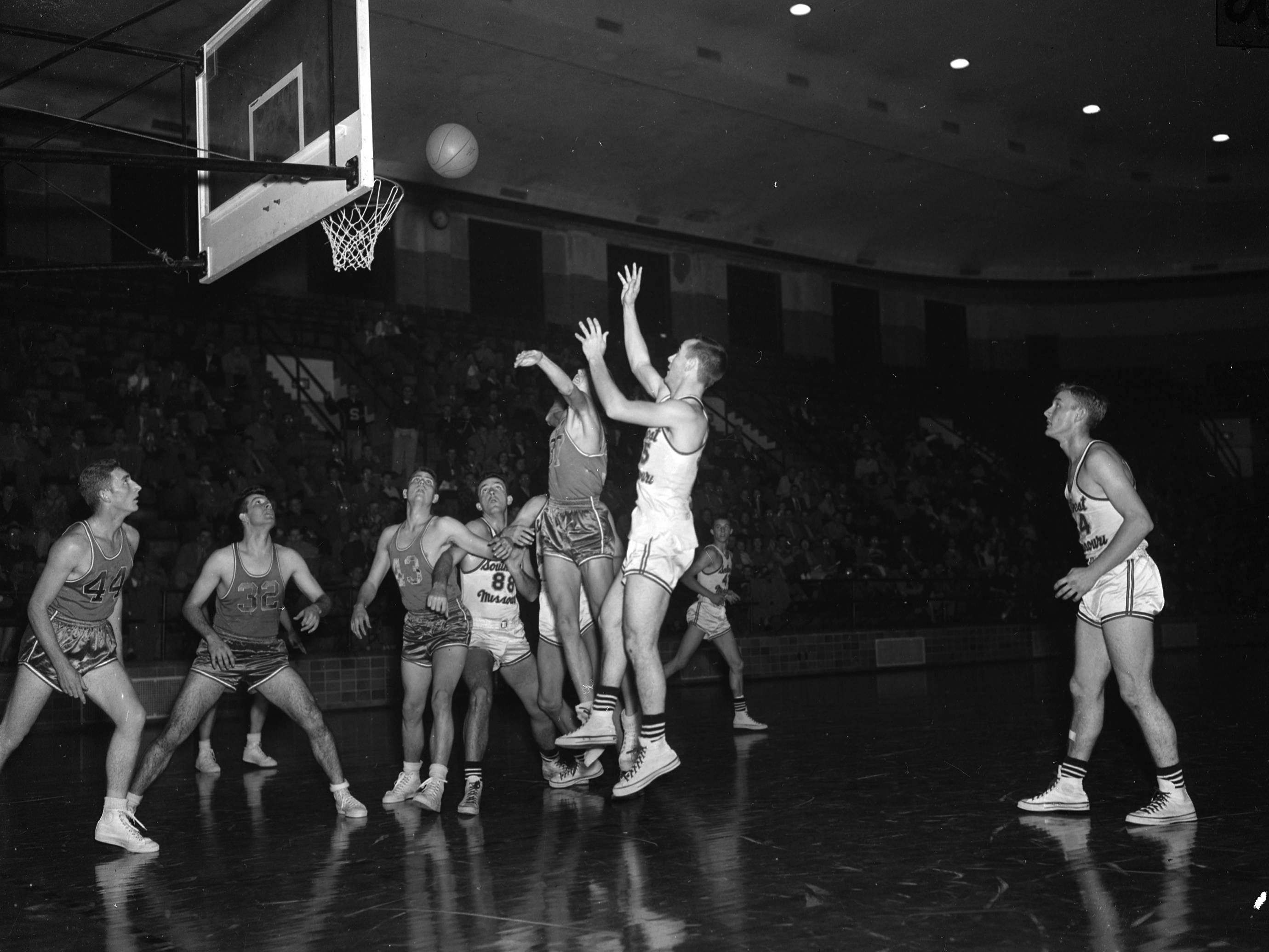 A Southwest Missouri State basketball game in December 1951.