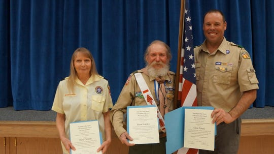 (From left to right) Mary Cabrera, Brent Hughes and Brian Haviland show off their awards following the annual Virgin River Valley Scout Leader recognition dinner.