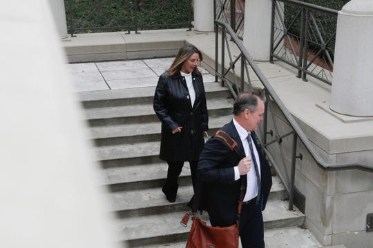 Former Downtown Improvement Authority Executive Director Paige Carter-Smith and her attorney Stephen Webster leave the U.S. District Courthouse after a hearing in front of Chief U.S. District Judge Mark Walker Wednesday, Jan. 30, 2019. An original trial date of Feb. 11 was pushed back to a date uncertain. Carter-Smith and suspended City Commissioner Scott Maddox were indicted in December on numerous public corruption charges.