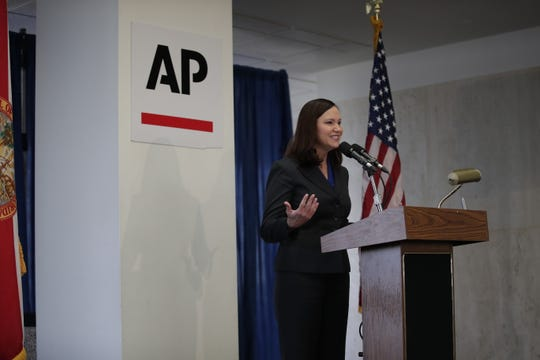 Attorney General Ashley Moody speaks during the Associated Press legislative planning session held at the Capitol Wednesday, Jan. 30, 2019. Gov. Ron DeSantis, Senate President Bill Galvano, House Speaker Jose Oliva, Senate Democratic Leader Audrey Gibson, House Democratic Leader Kionne McGhee, Chief Financial Officers Jimmy Patronis and Agriculture Commissioner Nikki Fried also made appearances at the event.