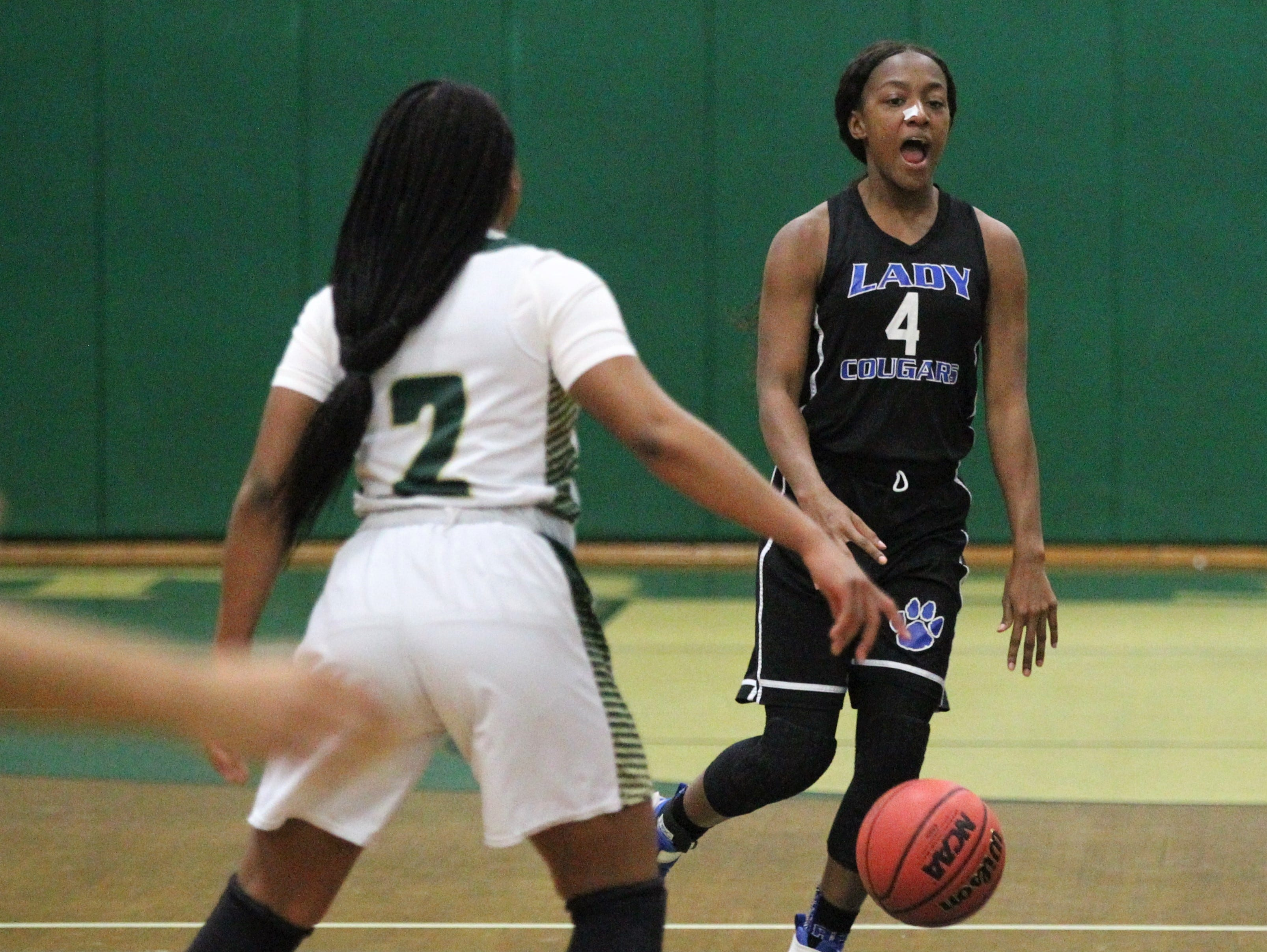 Godby point guard Armarni Williams calls out a play as Lincoln's girls basketball team beat Godby 67-32 on Jan. 29, 2019.