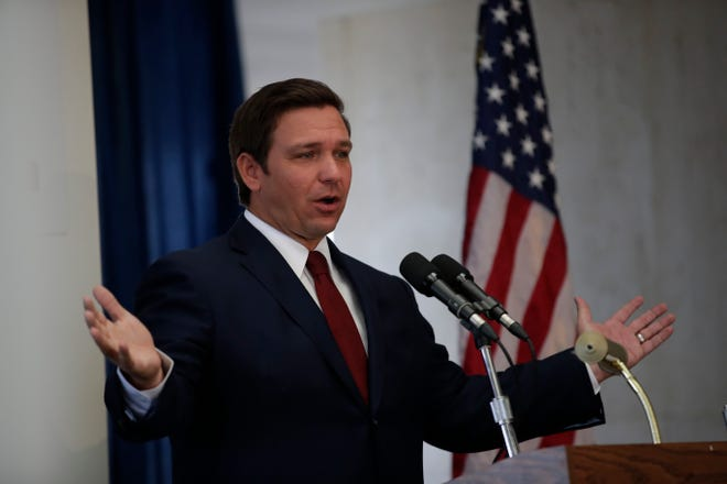 Gov. Ron DeSantis speaks during The Associated Press legislative planning session Wednesday in Tallahassee.