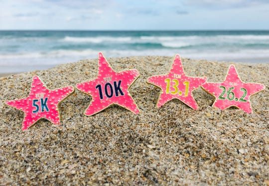 2019 racers are in for a special treat with the beautiful finisher medals that feature a glow-in-the-dark bright pink starfish, a palm tree bottle opener, and, since everyone who participates in any of Sunday's races gets to run one of the bridges, finishers get to take one home with them at the top of their medal.