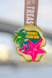 Now entering its sixthyear, the Marathon of the Treasure Coast has solidified its line up for the 2019 race weekend, which kicks off onMarch 1. Pictured is the finisher's medal.