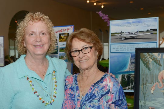 """Mimi Brown and Jackie Schindehette at the Pelican Yacht Club for the """"Sunday in Key West"""" Luncheon & Auction benefit for the A.E. Backus Museum & Gallery in Fort Pierce."""