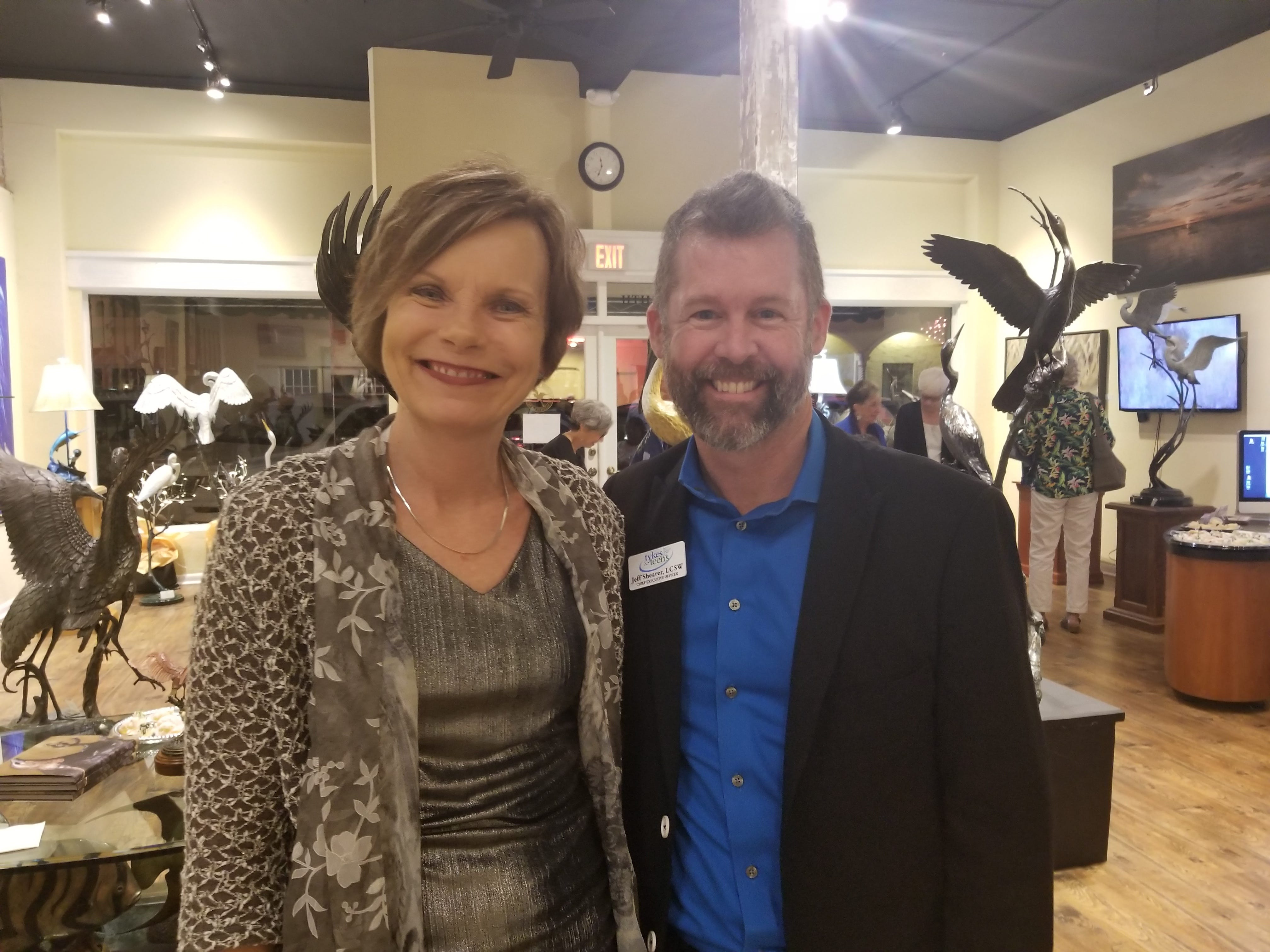 Tykes & Teens partnered with Stuart'sLyric Theatre and Geoffrey Smith Gallery to host a rocking evening of fun for Tykes & Teens supporters. Pictured are Shauna Bledsoe and Jeff Shearer.