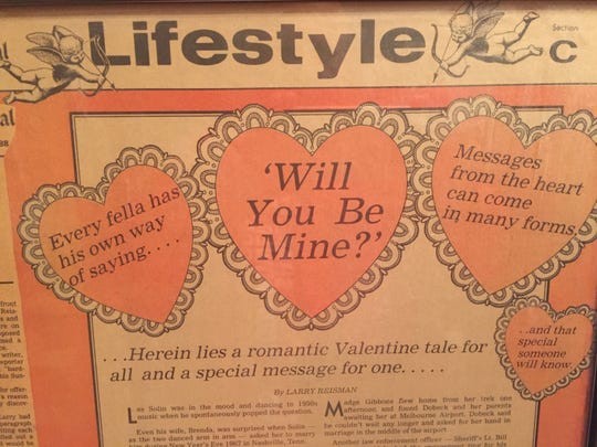 Larry Reisman's cryptogram-column on how Indian River County couples proposed to each other first published in the Press Journal's Lifestyle section Jan. 31, 1988.