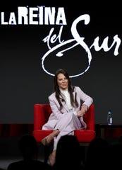 "Kate del Castillo speaks in Telemundo's ""La Reina Del Sur"" panel during the NBCUniversal TCA Winter Press Tour on Tuesday, Jan. 29, 2019, in Pasadena, Calif."