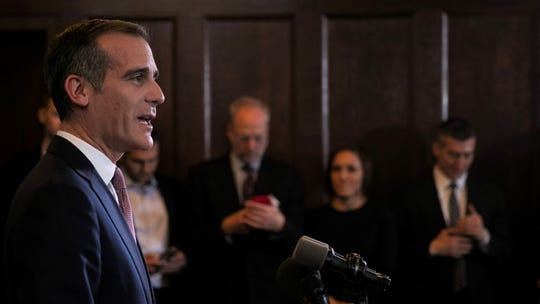 Los Angeles Mayor Eric Garcetti speaks during a news conference Tuesday. Garcetti will not seek the Democratic presidential nomination in 2020.