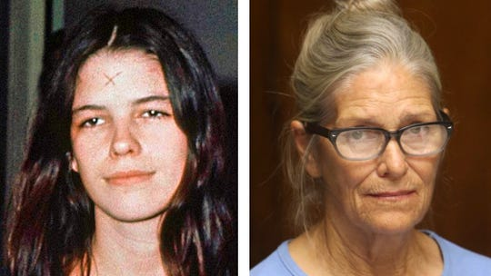 Leslie Van Houten is shown in 1971 at left and in 2017 at right.