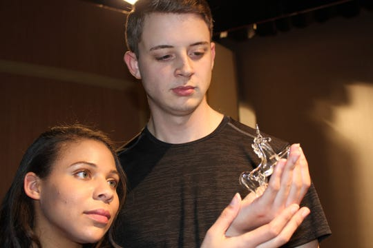 "Carey Walden (left) as Laura and Kyle Allen Devich as Jim rehearse a scene for Cumberland Players' production of Tennessee Williams' ""The Glass Menagerie."""