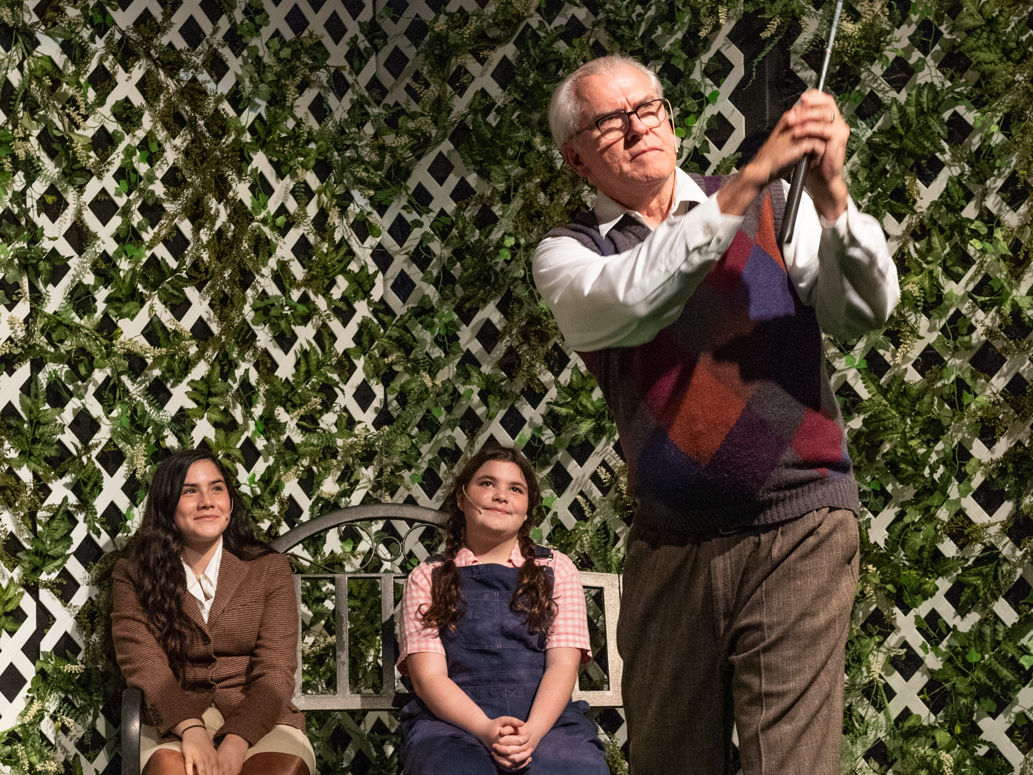 Lily Trevino, left, Beatrice Du Toit and Rob Hansen rehearse for Visalia Players production of Grey Gardens at the Ice House Theater on Tuesday, January 29, 2019.