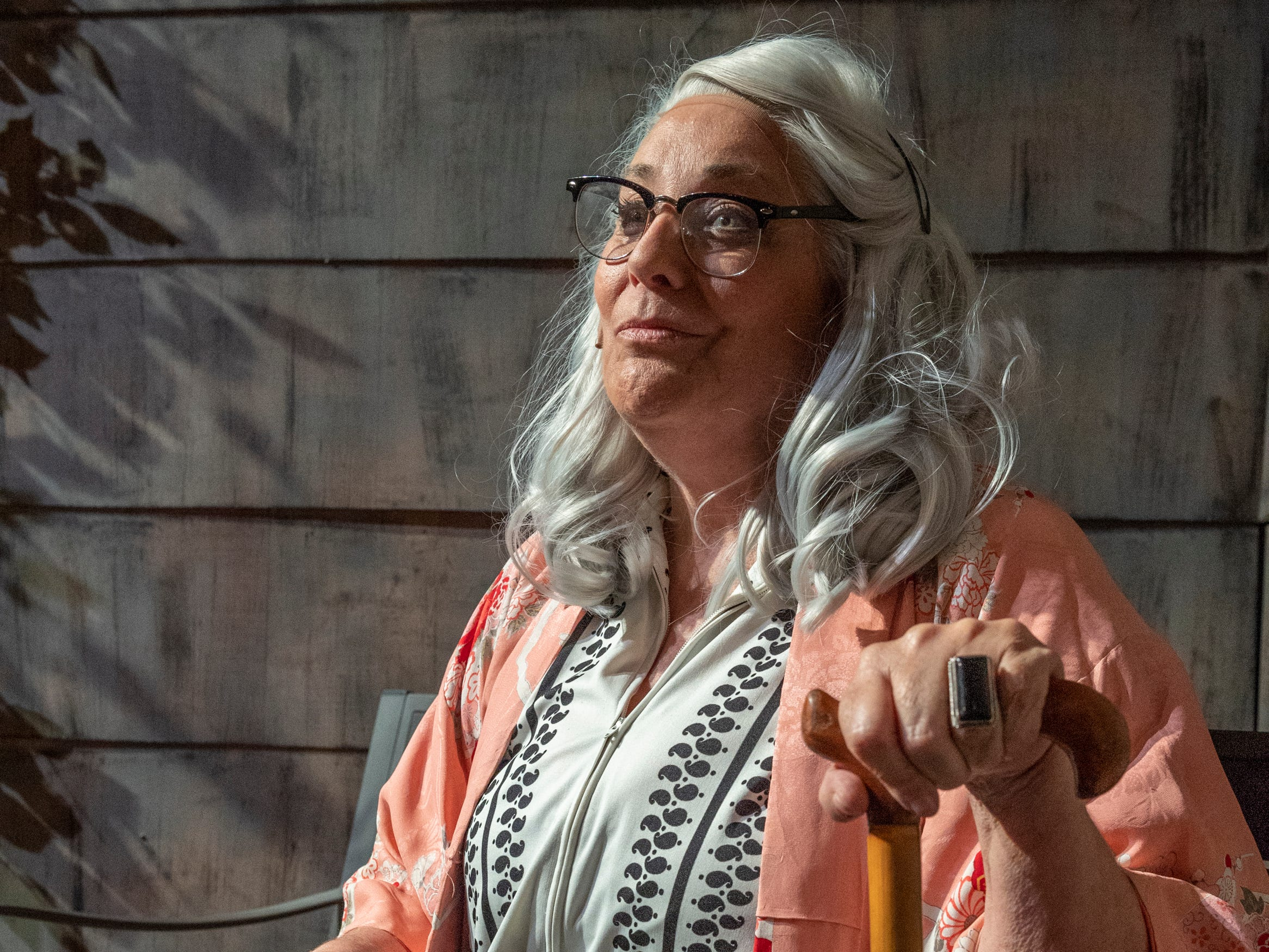 Debra Hansen rehearses for Visalia Players production of Grey Gardens at the Ice House Theater on Tuesday, January 29, 2019.