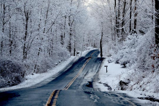 Ice hung to tree branches on Peekskill Hollow Road in Putnam Valley in the early morning hours Jan. 30, 2019. Road were free of snow but black ice was a concern in some areas. Temperatures will drop throughout the day, reaching down into single digits by nighttime.