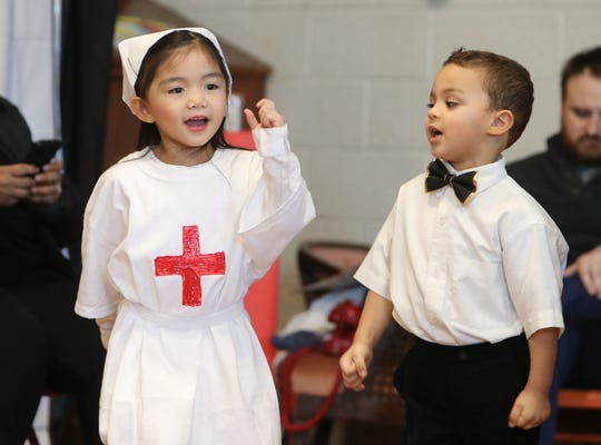 "Pre-schoolers present the 1940's during the ""Blast from the Past"" at St. Anthony School   Nanuet Jan. 30, 2019. The performances were part of Catholic Schools Week."