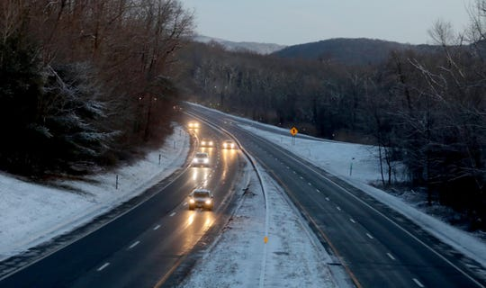 Southbound traffic on the Taconic State Parkway in Putnam Valley was light during the early morning hours Jan. 30, 2019. Road were free of snow but black ice was a concern in some areas. Temperatures will drop throughout the day, reaching down into single digits by nighttime.