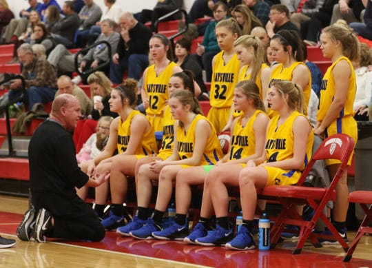 Maysville High School girls basketball coach Pat Miller talks to his team during a recent game. Miller recently won his 300th career game.