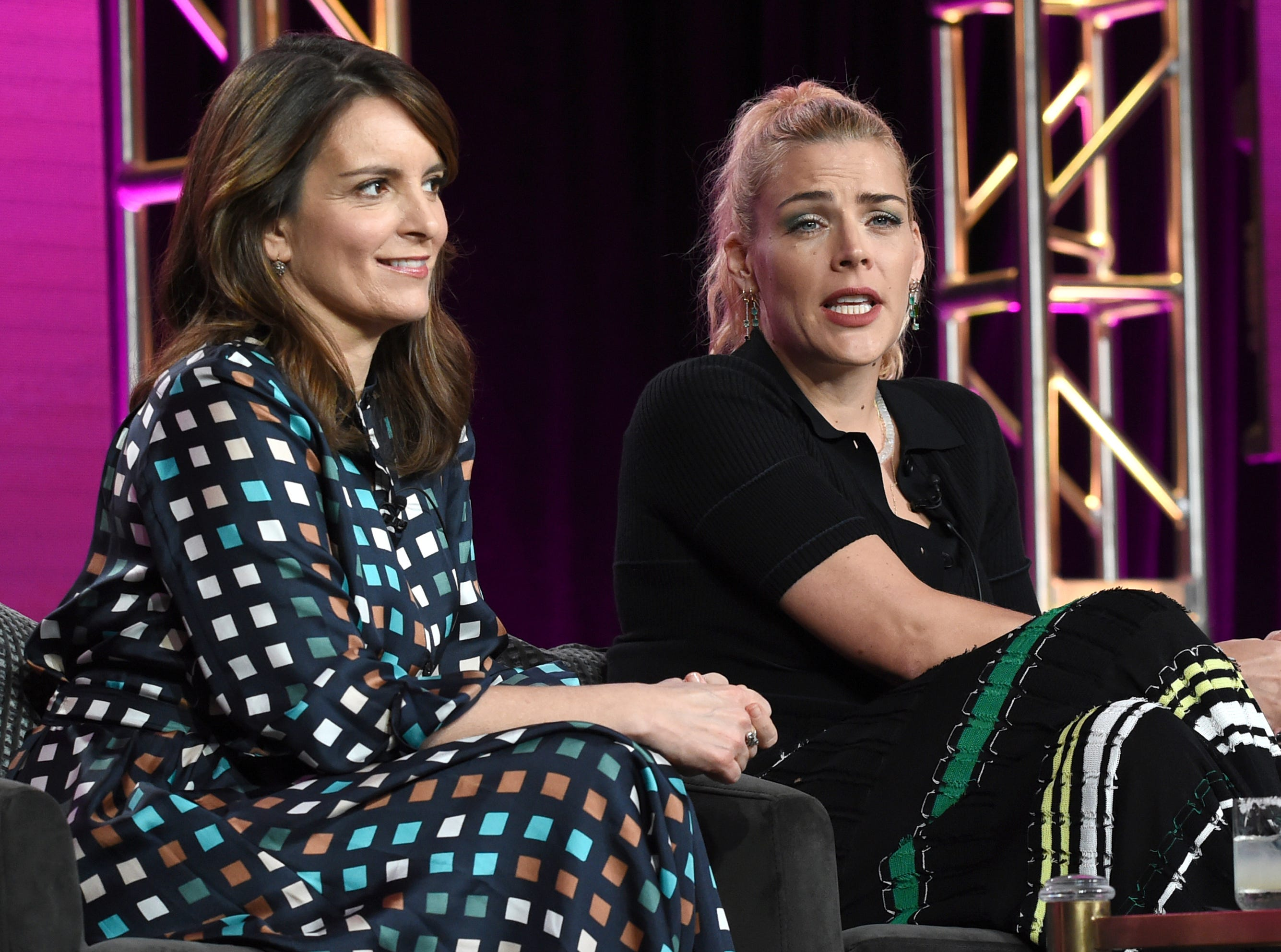 """Tina Fey and Busy Philipps talk about E!'s new """"Busy Tonight,"""" a talk show starring Philipps and produced by Fey."""