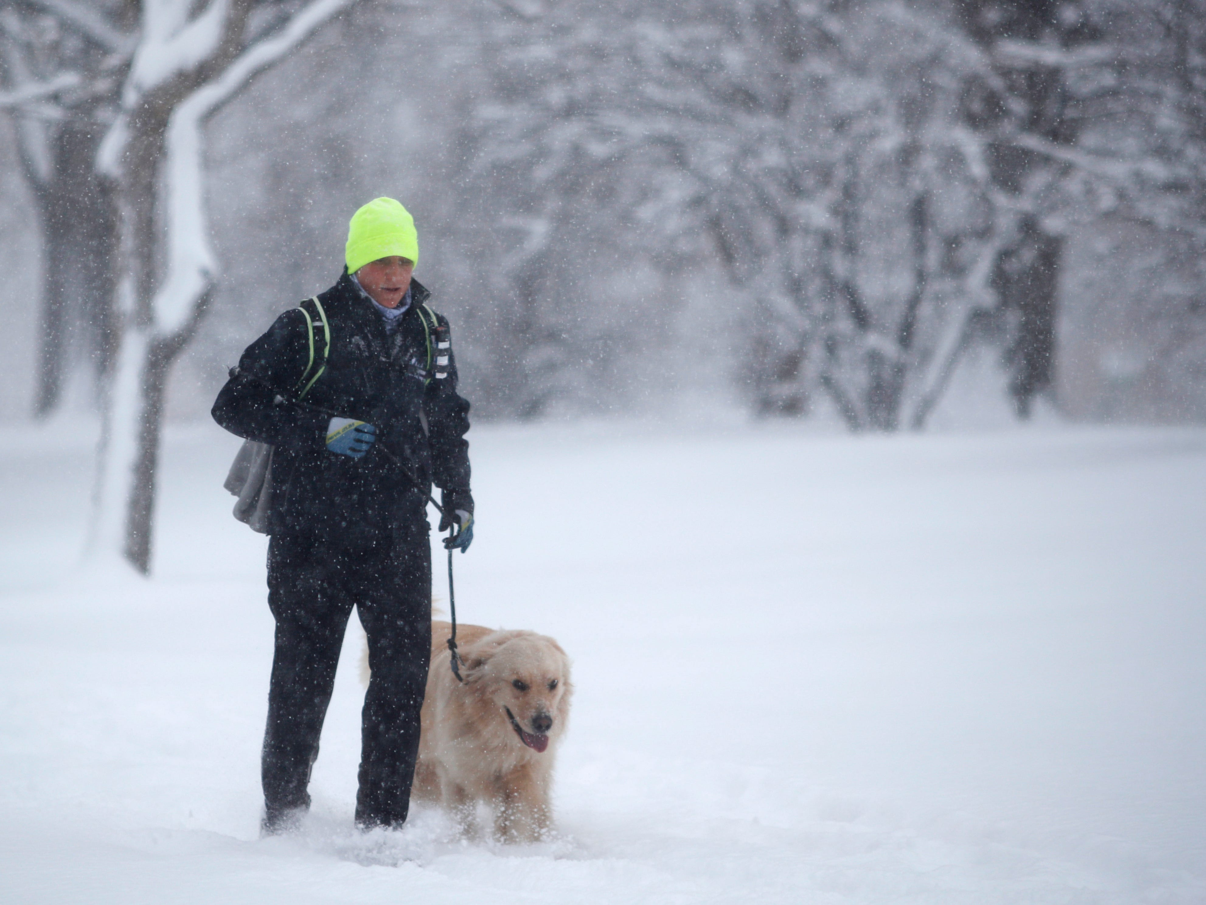 A jogger and his dog battle high winds and snow as a winter storm rolls through on Jan. 28, 2019, in Denver.