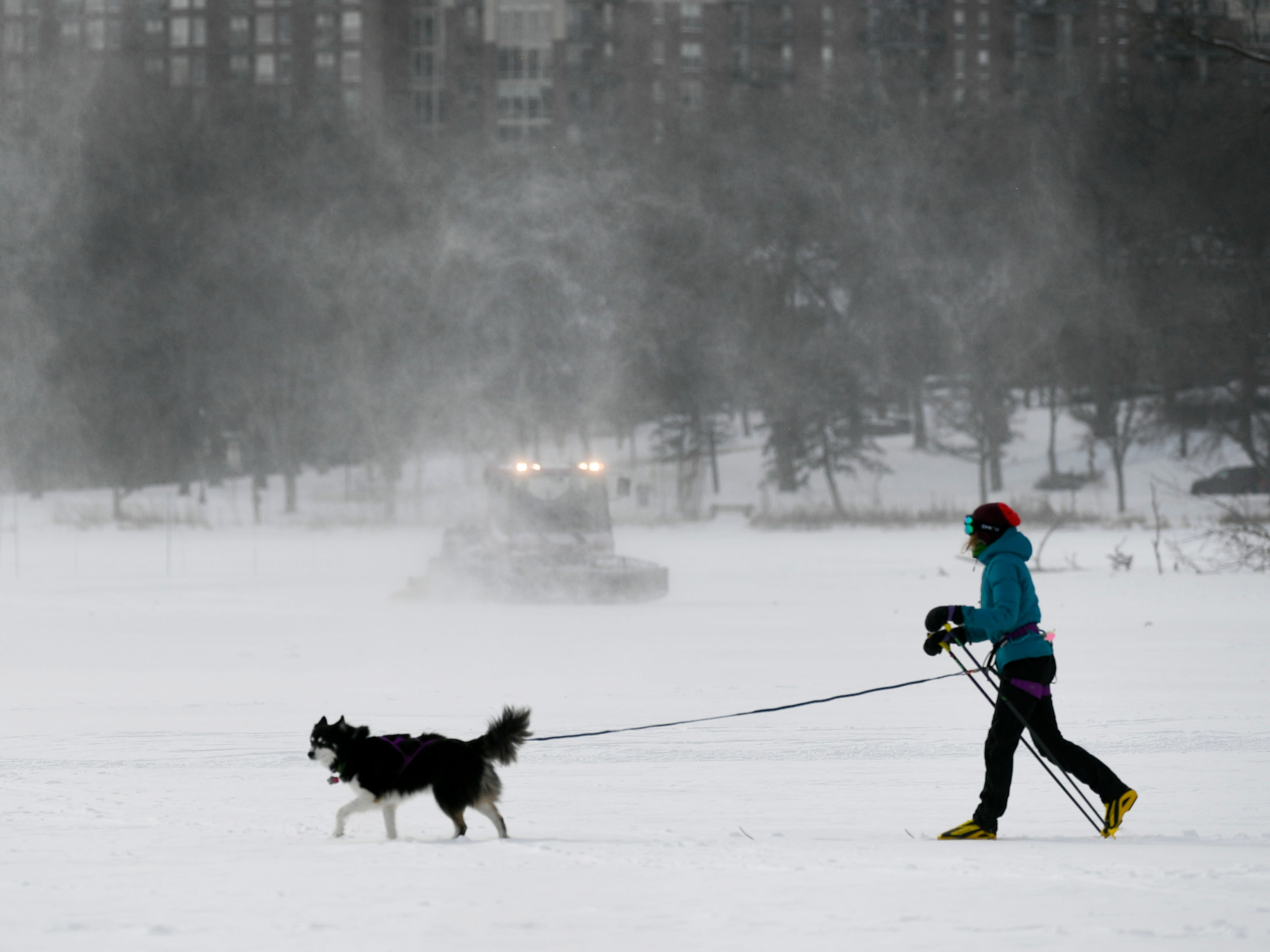 Chloe Adams skis with her dog, Roscoe, in Minneapolis on Jan. 29, 2019.