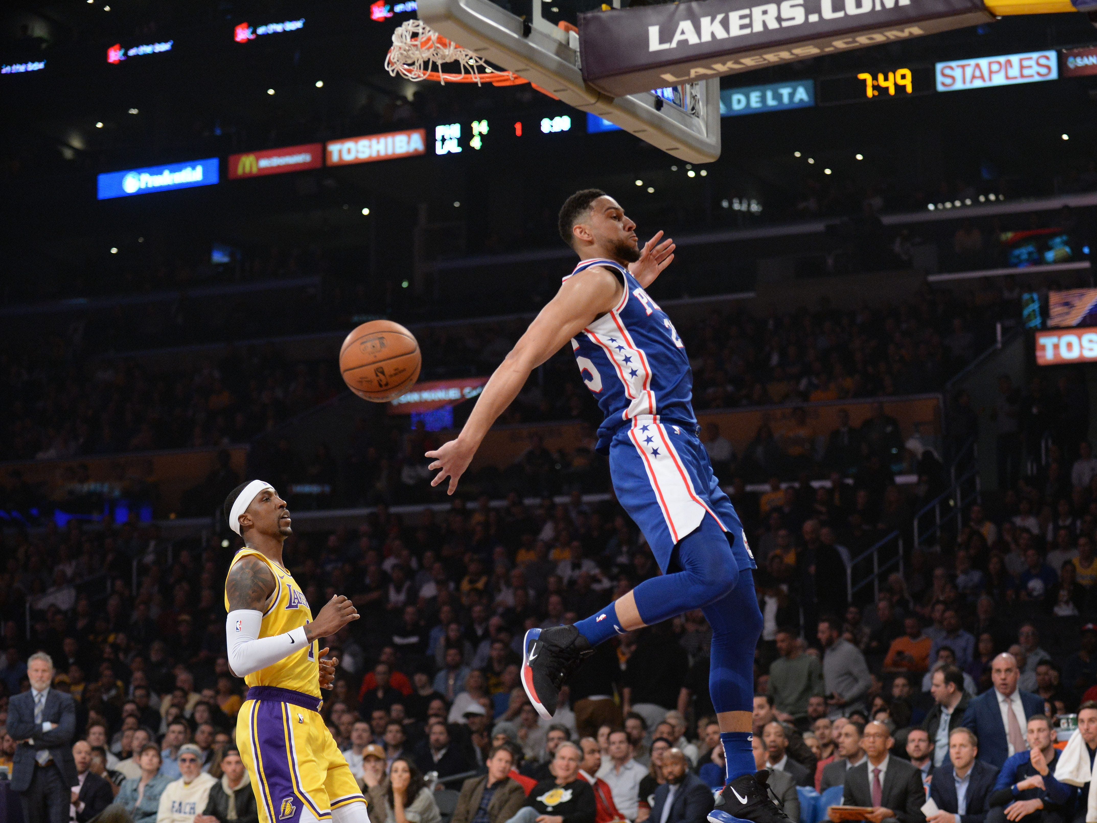 Jan. 29: The Philadelphia 76ers' Ben Simmons dunks against the Los Angeles Lakers.