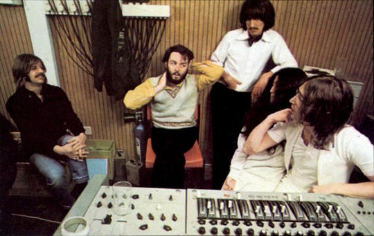 "Ringo Starr, Paul McCartney, George Harrison, Yoko Ono and John Lennon as the Beatles recorded ""Let It Be."""