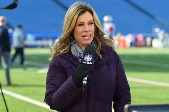 NFL Network reporter Kim Jones speaks prior to an NFL football game between the New England Patriots and the Buffalo Bills on Dec. 3.