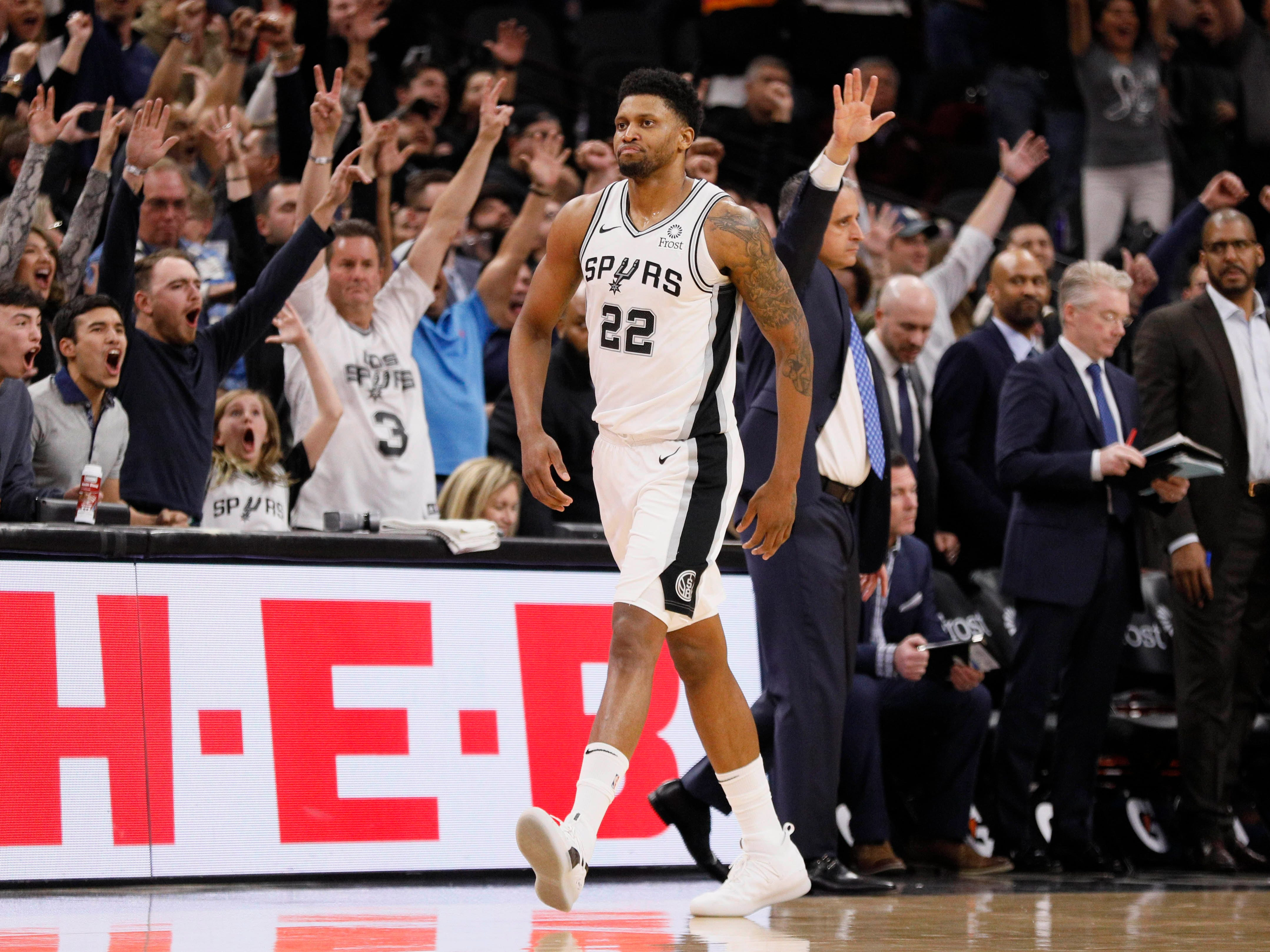 Jan. 29: Spurs forward Rudy Gay celebrates after hitting the game-winning shot at the buzzer to beat the Suns.