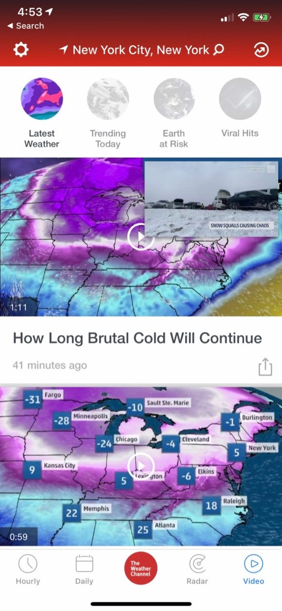 The Weather Channel app features Weather Channel videos.
