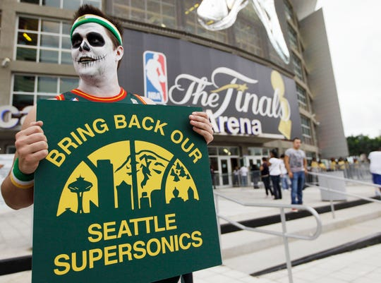 A Seattle SuperSonics fan demonstrates before Game 4 of the NBA Finals.