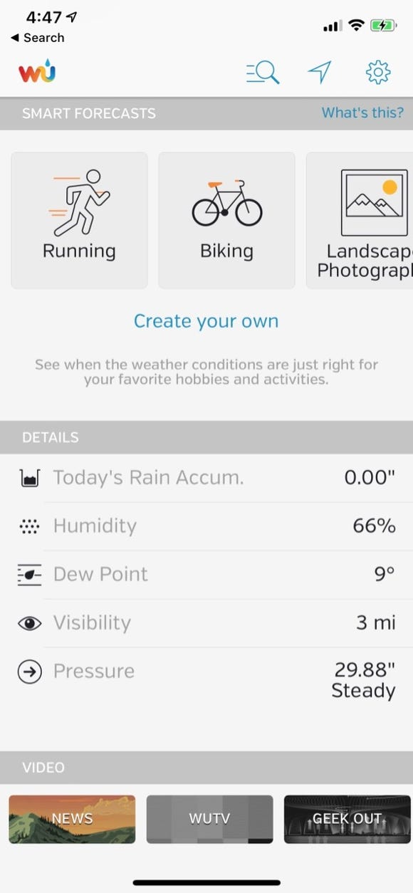 A feature in the Weather Underground app lets you know when weather conditions are just right for your favorite activities.