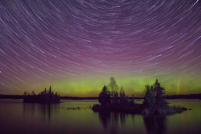 The Northern Lights put on a show over Lake Superior in Minnesota.