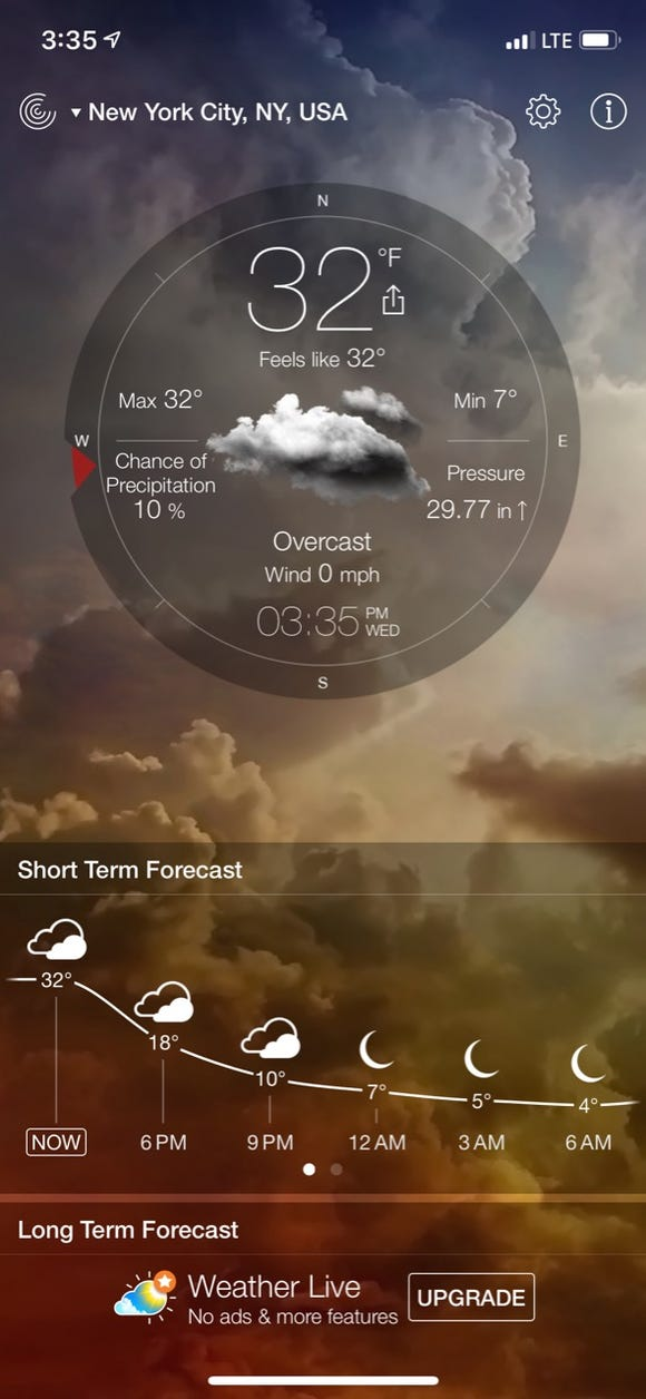 Weather Live app features handsome animations.