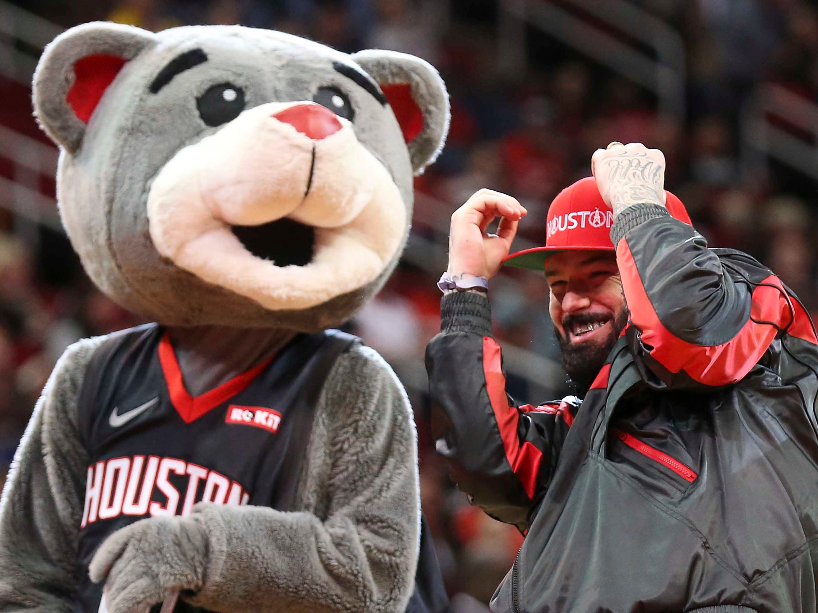 Jan. 29: Rapper Paul Wall reacts after missing his first shot before the Houston Rockets play the New Orleans Pelicans at Toyota Center.