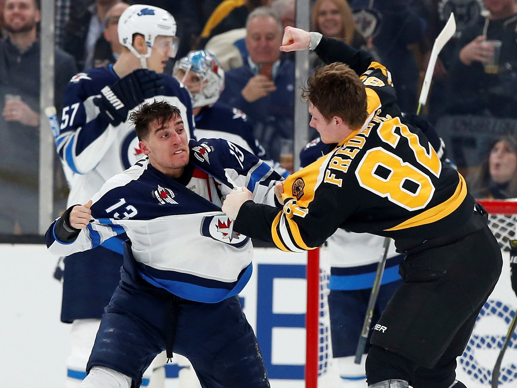 Jan. 29: Winnipeg Jets' Brandon Tanev vs. Boston Bruins' Trent Frederic