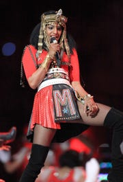 M.I.A. performs during the Bridgestone Super Bowl XLVI Halftime Show at Lucas Oil Stadium on February 5, 2012 in Indianapolis, Indiana.
