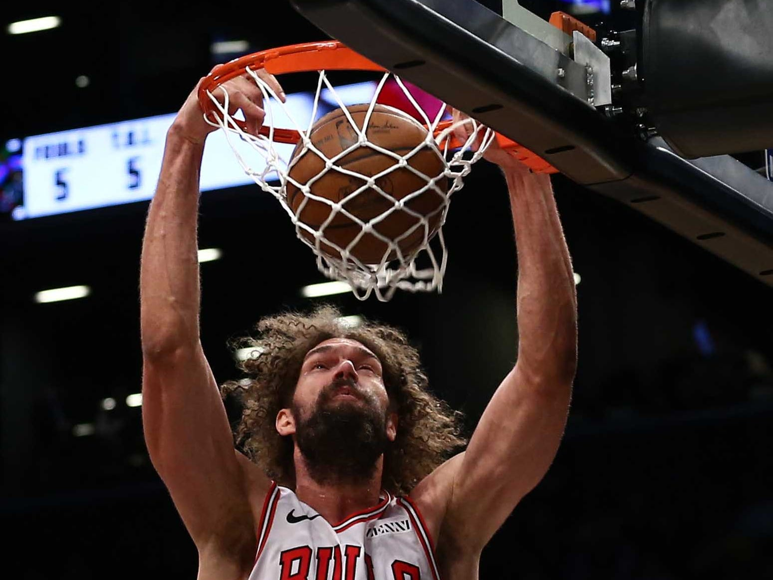 Jan. 29: The Chicago Bulls' Robin Lopez scores against the Brooklyn Nets in the third quarter at Barclays Center.