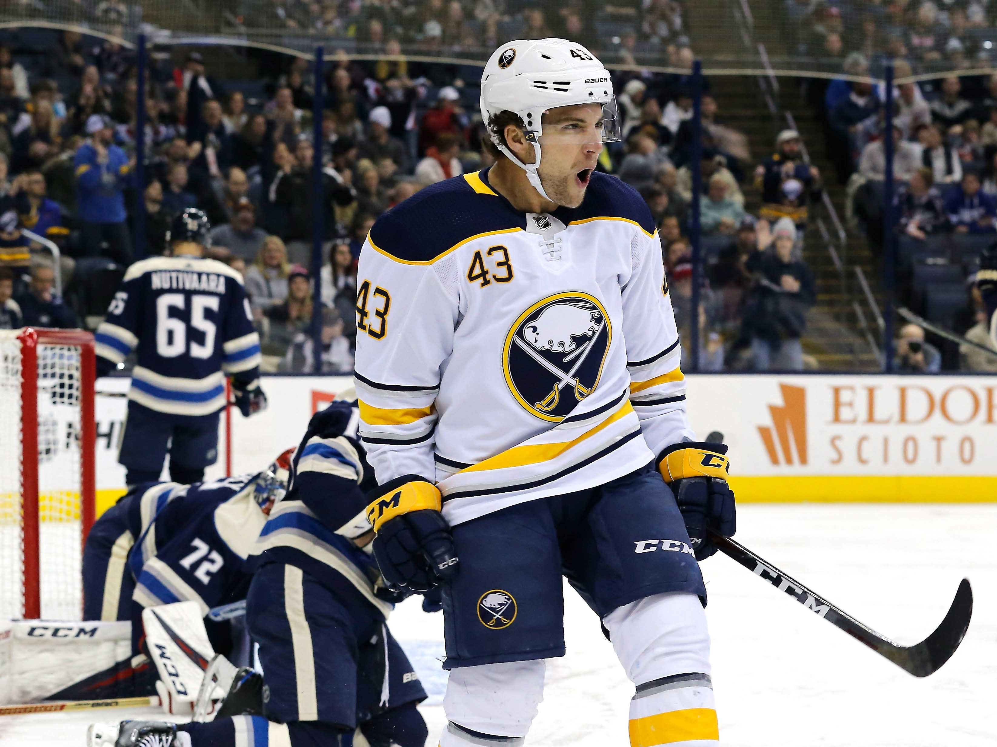 Jan. 29: Buffalo Sabres left wing Conor Sheary celebrates his go-ahead goal  in the third period against the Columbus Blue Jackets. It ended up being the game-winner.