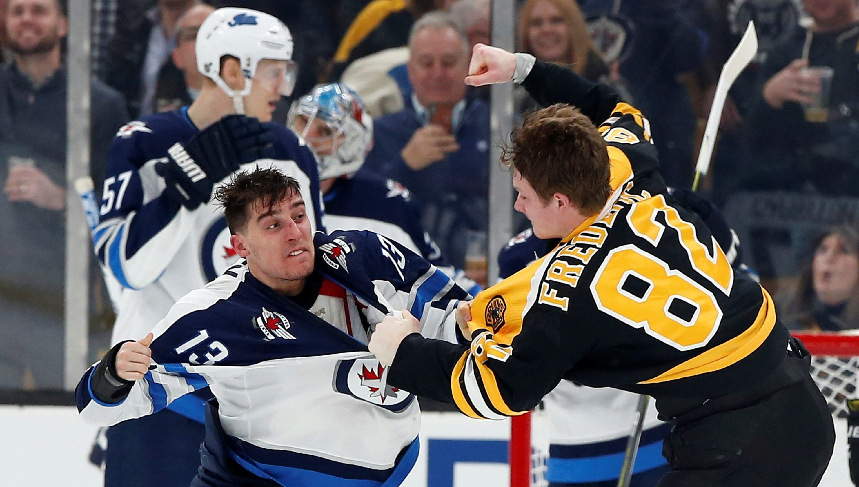 c840fd220 Trent Frederic  Bruins rookie s big fight in NHL debut thrills parents