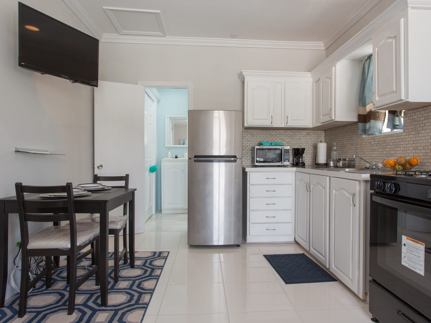 A look at the kitchen of Serenity Studio in Nassau, Bahamas