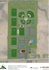 The master plan for the Greenville Sports Complex on State 96 calls for six soccer fields, four ball diamonds, a swimming pond and a splash pad.
