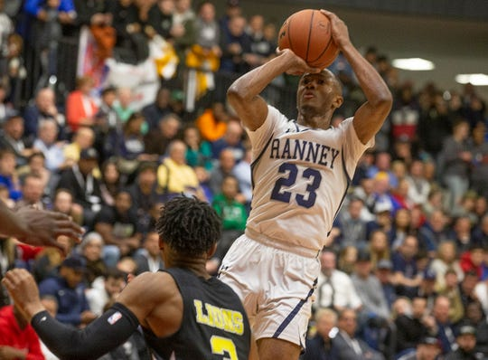 Ranney's Scottie Lewis goes up with shot. Ranney School Boys Basketball vs Roselle Catholic in the Jersey Shore Challenge at Brookdale College in Middletown, NJ on January 30, 2019.